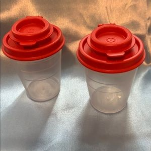 New! Tupperware mini Salt and pepper shakers.